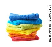 pile of rainbow colored towels... | Shutterstock . vector #363933524