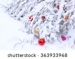 christmas toys hanging on snow... | Shutterstock . vector #363933968