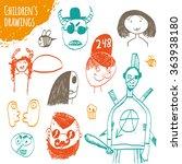 children's drawings. children's ... | Shutterstock .eps vector #363938180