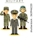 soldier and officer man and... | Shutterstock .eps vector #363946220