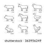 vector silhouettes farm animals ... | Shutterstock .eps vector #363956249