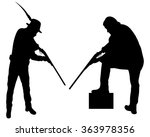 hunter and man with rifle aiming | Shutterstock .eps vector #363978356