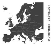 map of europe with names of... | Shutterstock .eps vector #363981014