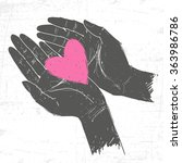 two hands holding the heart.... | Shutterstock .eps vector #363986786