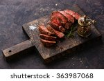 sliced medium rare grilled beef ... | Shutterstock . vector #363987068