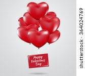 happy valentines day  red heart ... | Shutterstock .eps vector #364024769