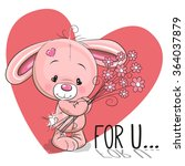 valentine card cute cartoon... | Shutterstock .eps vector #364037879