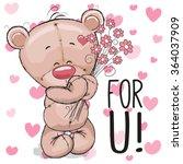 valentine card cute cartoon... | Shutterstock .eps vector #364037909
