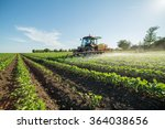 farmer spraying soybean field... | Shutterstock . vector #364038656