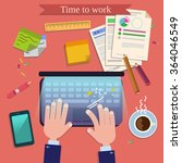 time to work. modern workplace... | Shutterstock .eps vector #364046549