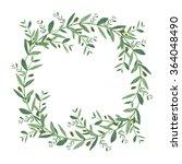 watercolor olive wreath.... | Shutterstock . vector #364048490
