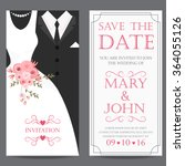 wedding invitation card  bride... | Shutterstock .eps vector #364055126