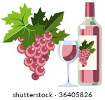 bottle of pink wine with grapes ... | Shutterstock .eps vector #36405826