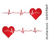 red heart with ekg on white  ...   Shutterstock . vector #364059869