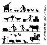 agriculture icons. feeding... | Shutterstock .eps vector #364074638