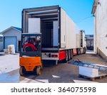worker on the loader loads long ... | Shutterstock . vector #364075598