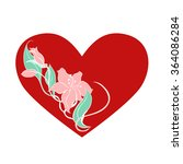 red heart with flowers inside... | Shutterstock .eps vector #364086284
