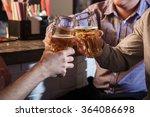 happy friends drinking beer at... | Shutterstock . vector #364086698