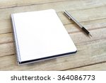 blank white notebook with pen... | Shutterstock . vector #364086773