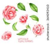 camellia  handmade  colorful... | Shutterstock . vector #364092410