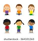 little kids sitting on the... | Shutterstock .eps vector #364101263