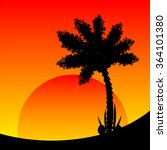 palm tree at tropic sunset.... | Shutterstock .eps vector #364101380