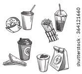 selection of takeaway snacks.... | Shutterstock .eps vector #364121660