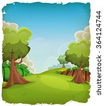 cartoon rural landscape... | Shutterstock .eps vector #364124744