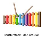 rainbow colored toy xylophone... | Shutterstock .eps vector #364125350