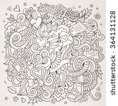 cartoon vector hand drawn love... | Shutterstock .eps vector #364131128