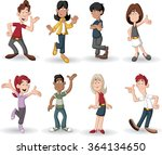 colorful group of happy cartoon ... | Shutterstock .eps vector #364134650