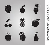 black fruits icons isolated on... | Shutterstock .eps vector #364151774