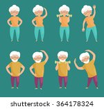old people doing exercises.... | Shutterstock .eps vector #364178324