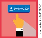 blue download now button with...