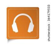 white flat headphones icon on... | Shutterstock .eps vector #364179533