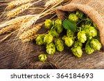Barley And Hop Cones On  Rusti...