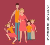 flat portrait big happy family... | Shutterstock .eps vector #364188734