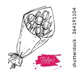 vector hand drawn tulips... | Shutterstock .eps vector #364191104