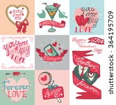 valentines day romantic cards... | Shutterstock . vector #364195709