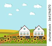 neighboring country houses with ...   Shutterstock .eps vector #364196870