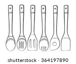 set of wooden spoons for... | Shutterstock .eps vector #364197890