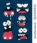 Monsters Faces Vector Set
