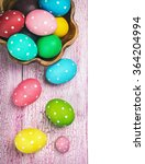 colored easter eggs on wooden... | Shutterstock . vector #364204994