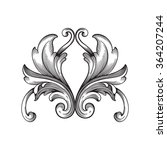 vintage baroque frame scroll... | Shutterstock .eps vector #364207244