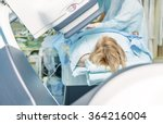 a female patient on a cath lab... | Shutterstock . vector #364216004