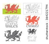 stylized welsh flag  cymru is ... | Shutterstock .eps vector #364221794
