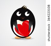 romantic penguin with a red... | Shutterstock .eps vector #364223108