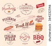 set of vintage fast food style... | Shutterstock .eps vector #364232546