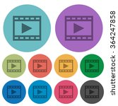 color play movie flat icon set...