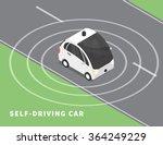 self driving car flat isometric ...   Shutterstock .eps vector #364249229